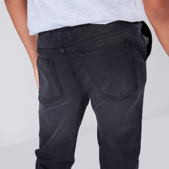 Basic Denim Joggers with Ribbed Hems and Drawstring Fastening