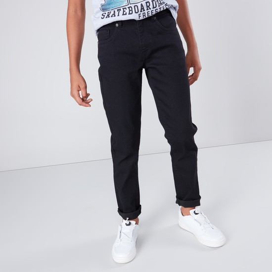 Basic Full Length Jeans with Pocket Detail and Zip Closure