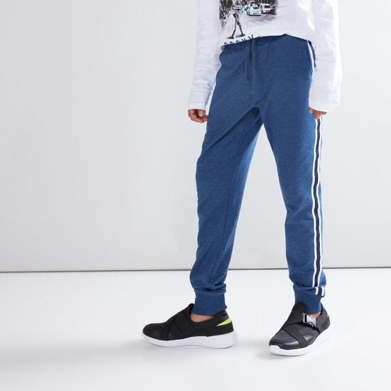 Tape Detail Jog Pants with Pocket Detail and Drawstring