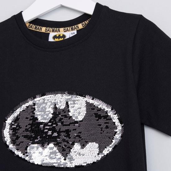 Batman Reversible Sequin Detail Round Neck Short Sleeves T-Shirt