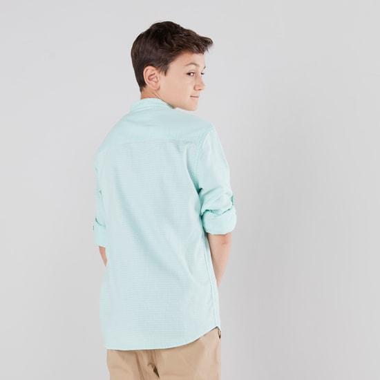 Textured Mandarin Collared Shirt with Long Sleeves