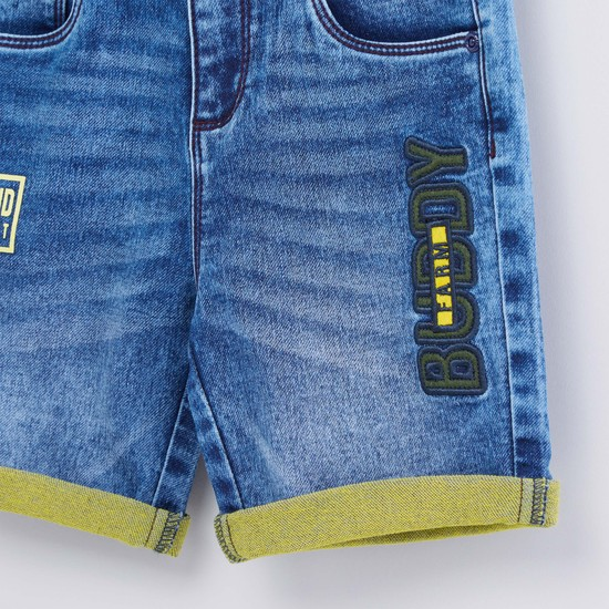 Embroidered Denim Shorts with Pocket Detail and Belt Loops