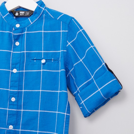 Chequered Mandarin Collar Long Sleeves Shirt
