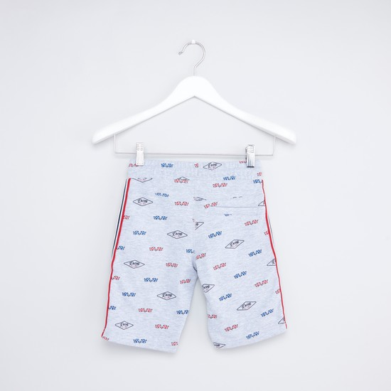 Printed Shorts with Drawstring Waistband and Tape Detail