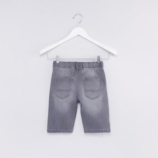 Denim Shorts with Pocket Detail and Drawstring