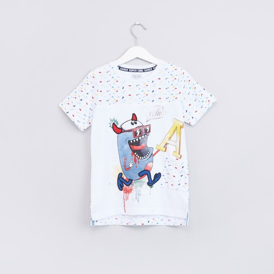Fun Loaded Monster Printed Short Sleeves T-Shirt