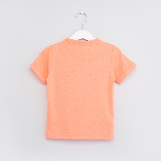 Printed Sequin Detail T-shirt with Round Neck and Short Sleeves