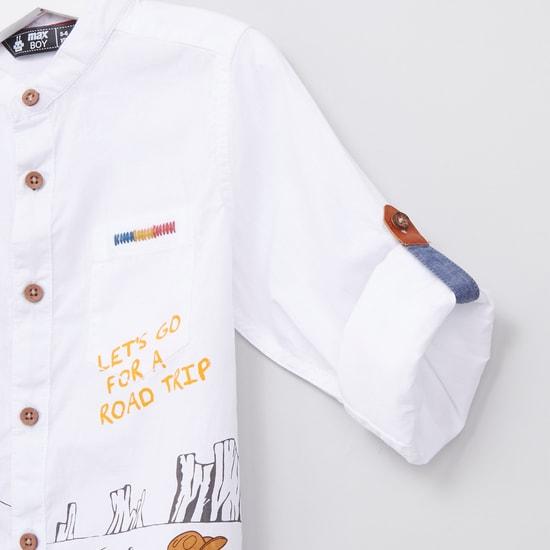 Printed Mandarin Collar Long Sleeves Shirt