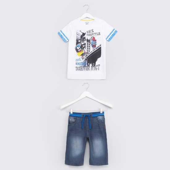 Printed T-Shirt with Denim Shorts