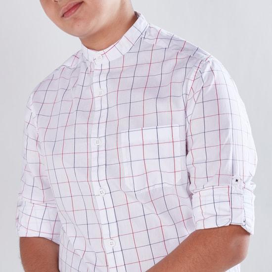 Windowpane Checked Shirt with Mandarin Collar and Long Sleeves