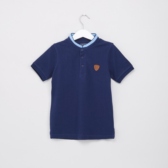 Henley Neck Short Sleeves Polo T-Shirt