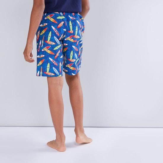 Printed Swim Shorts with Drawstring