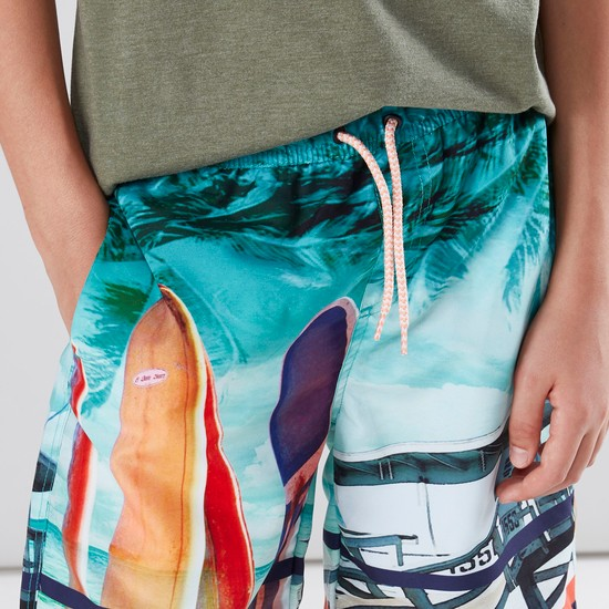 Printed Swimming Shorts with Pocket Detail