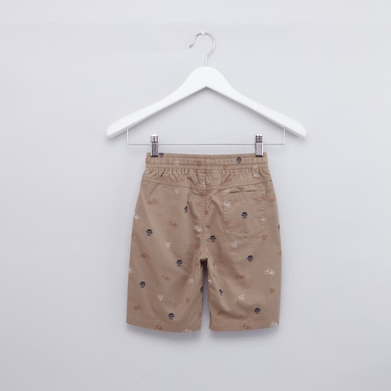 Embroidered T-shirt with Printed Shorts Set