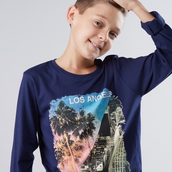 Los Angeles Printed Round Neck Long Sleeves T-Shirt