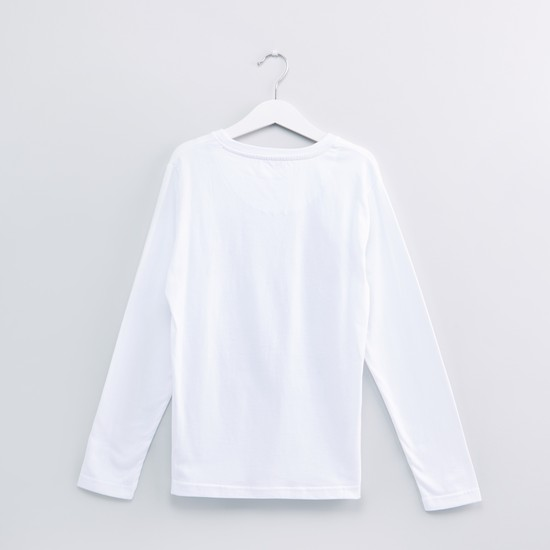 Text Printed Round Neck T-Shirt with Long Sleeves