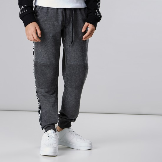 Tape Detail Jog Pants with Drawstring and Pocket Detail