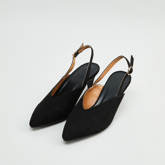 Pointed-Toe Heeled Mules with Adjustable Strap