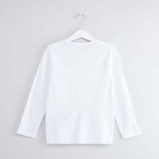 Printed T-shirt and Round Neck and Long Sleeves