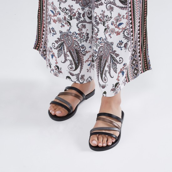 Strappy Flat Sandals with Slip-On Closure