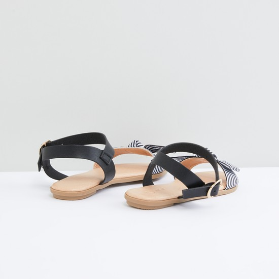 Striped and Knot Detail Sandals with Pin Buckle Closure