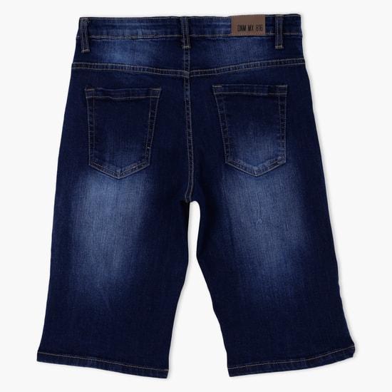 Stone Wash Denim Shorts