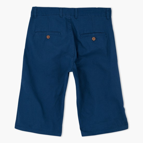 Knee Length Shorts with Button Closure