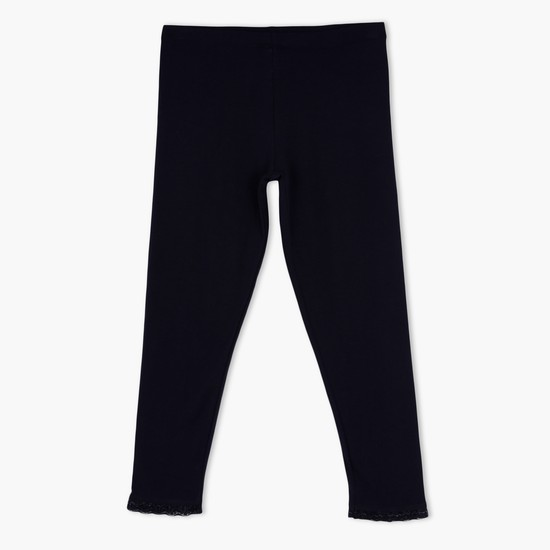 3/4 Length Leggings with Elasticised Waistband and Lace Detail