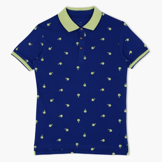 All Over Print Polo Neck T-Shirt with Short Sleeves