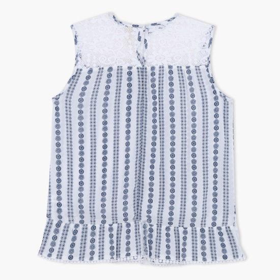 Printed Crochet Round Neck Top