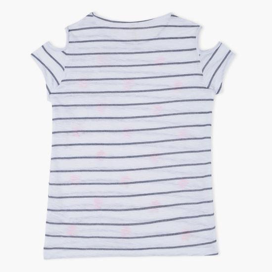 Cold Shoulder Striped T-Shirt