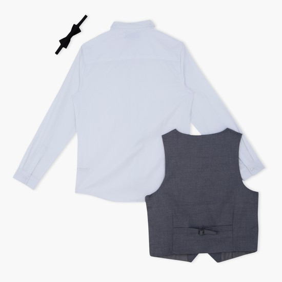 Long Sleeves Shirt with Waistcoat and Bow Tie