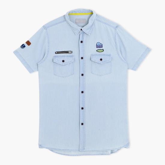 Short Sleeves Shirt with Applique Work