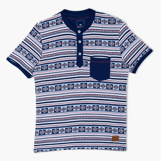 Printed Henley Neck T-Shirt with Patch Pocket