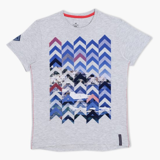 Printed Short Sleeves Melange T-Shirt
