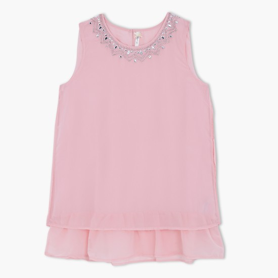 Sleeveless Beaded Top with Layered Hem