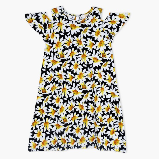 Printed Dress with Round Neck and Cold Shoulders