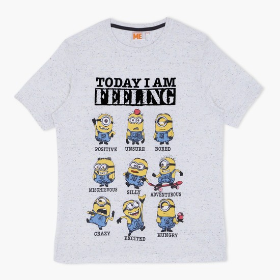 Minion Printed T-Shirt with Round Neck and Short Sleeves