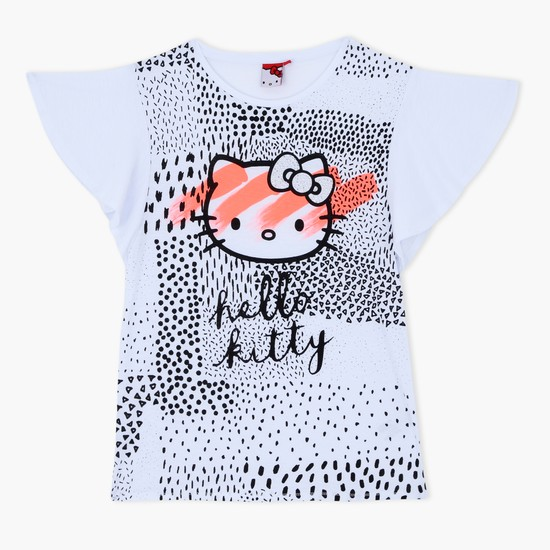 Hello Kitty Printed T-Shirt with Round Neck
