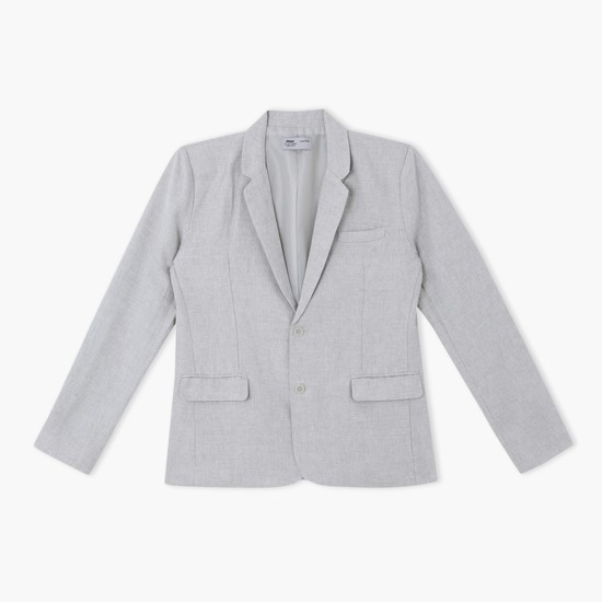 Textured Jacket with Long Sleeves and Knotch Collar