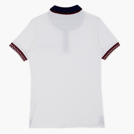 Polo Neck T-Shirt and Embroidery Detail