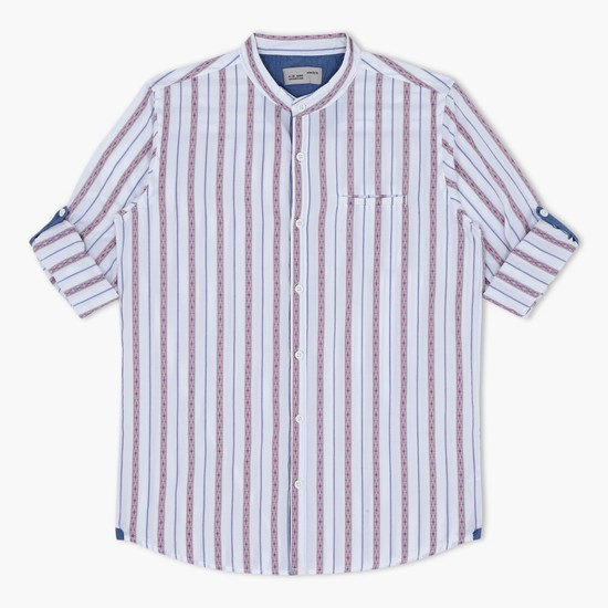 Striped Mandarin Collar Shirt with Roll Up Sleeves