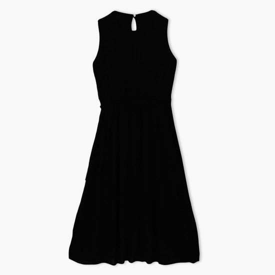 Embroidered Sleeveless Dress with Round Neck