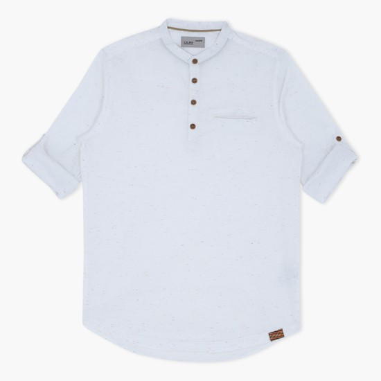 Roll Up Sleeves Shirt with Henley Neck