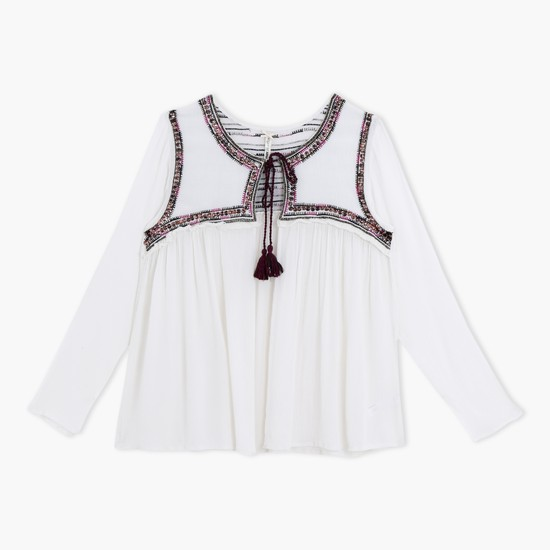 Embroidered Long Sleeves Top with Tasselled Tie Ups