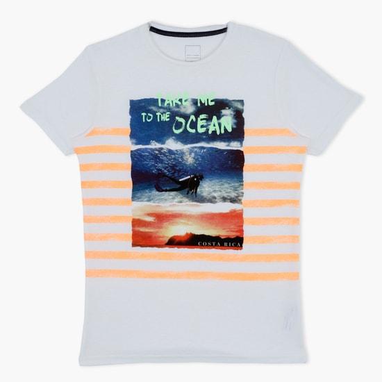 Printed Round Neck Swim T-Shirt