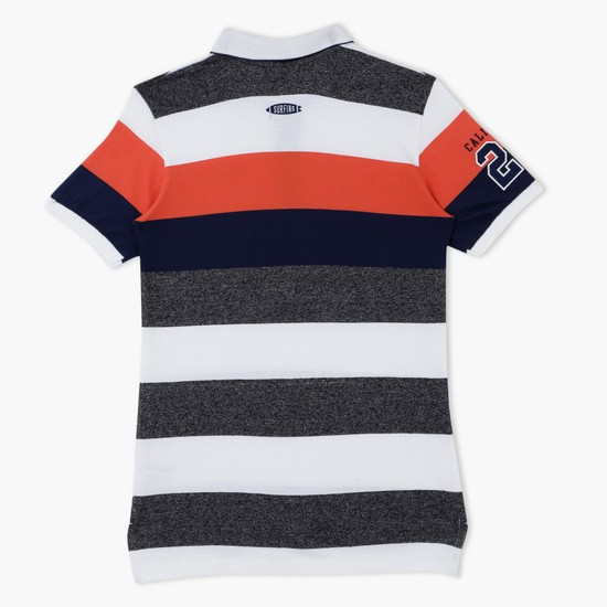 Striped Polo Neck T-Shirt with Short Sleeves
