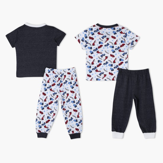 Printed Round Neck Pyjama - Set of 2