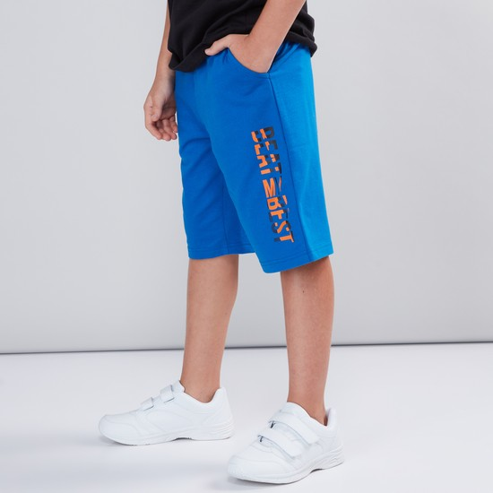 Printed Shorts with Elasticised Waistband and Drawstring