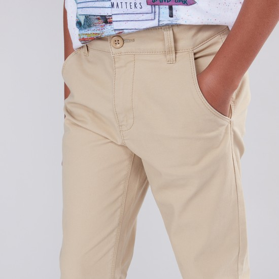 Pocket Detail Full Length Pants with Zip and Button Closure